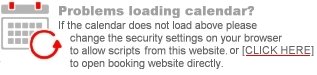 If calendar does not load please change security settings on you browser to allow scripts and pop up from this website