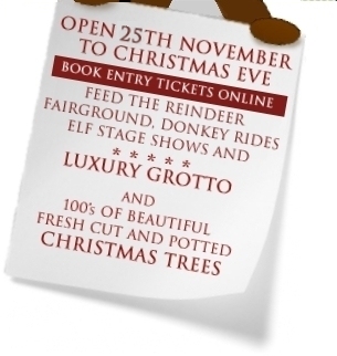 Reindeer Lodge and Santa's Grotto Chester, opens 26th November to Christmas Eve